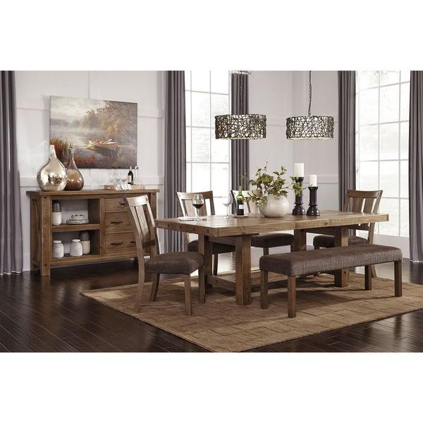 Shop Signature Designashley Tamilo Gray/brown Rectangle Regarding Popular Parquet 7 Piece Dining Sets (View 13 of 20)