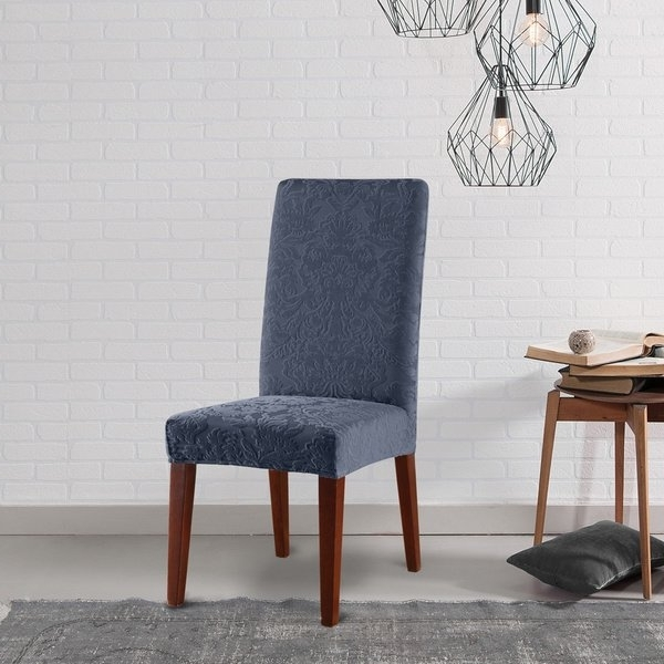 Shop Sure Fit Stretch Jacquard Damask Dining Room Chair Slipcover With Regard To Current Dining Chairs With Blue Loose Seat (View 10 of 20)