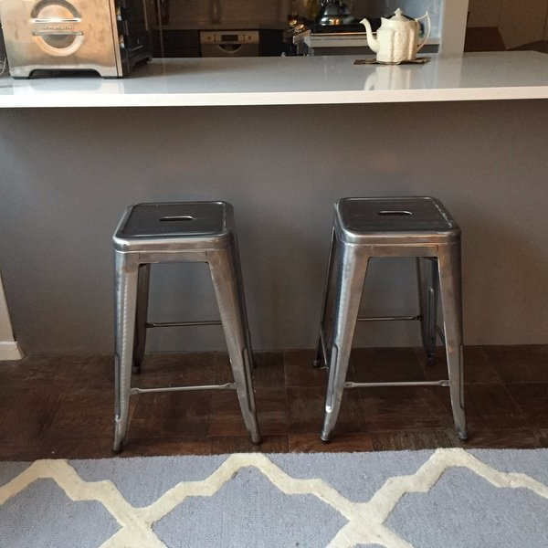 Shop Tabouret 24 Inch Vintage Patina Backless Counter Stool (Set Of Inside Newest Laurent 7 Piece Counter Sets With Wood Counterstools (View 16 of 20)