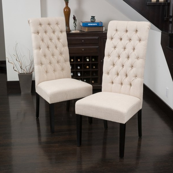 Shop Tall Dark Beige Tufted Fabric Dining Chair (Set Of 2) Pertaining To Preferred Caira Black 5 Piece Round Dining Sets With Diamond Back Side Chairs (View 17 of 20)