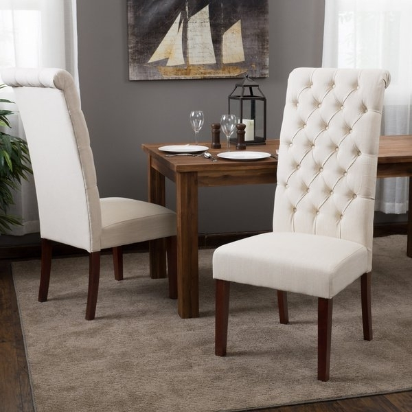 Shop Tall Natural Tufted Fabric Dining Chair (set Of 2) With Latest Caira Black 7 Piece Dining Sets With Arm Chairs & Diamond Back Chairs (View 18 of 20)
