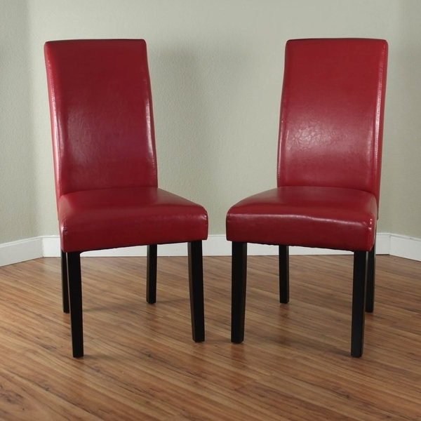 Shop Villa Faux Leather Red Dining Chairs (set Of 2) – Free Shipping Within Newest Red Dining Chairs (View 11 of 20)