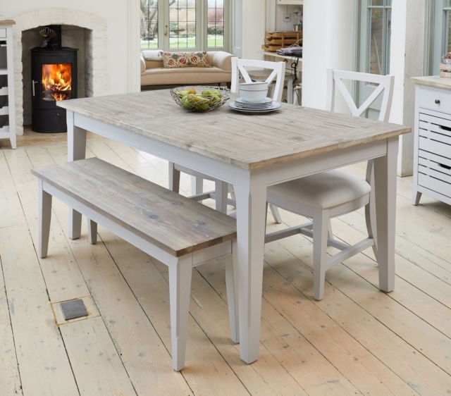 Signature Grey Painted Solid Wood Furniture 4 To 8 Seater Extending Pertaining To Famous 4 Seater Extendable Dining Tables (View 19 of 20)