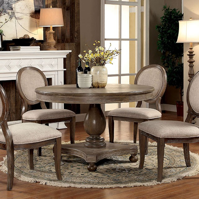 Siobhan Rustic Dark Oak Round Dining Set – Shop For Affordable Home Throughout 2017 Oak Round Dining Tables And Chairs (Gallery 12 of 20)
