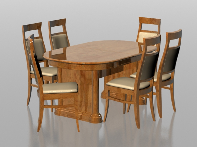 Six Seater Dining Tables Inside Well Known 6 Seater Dining Set 3D Model 3Dsmax Files Free Download – Modeling (View 13 of 20)