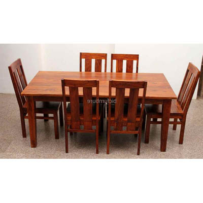 Six Seater Dining Tables Regarding Famous Large 6 Seater Wooden Dining Set In Sturdy Construction (View 15 of 20)