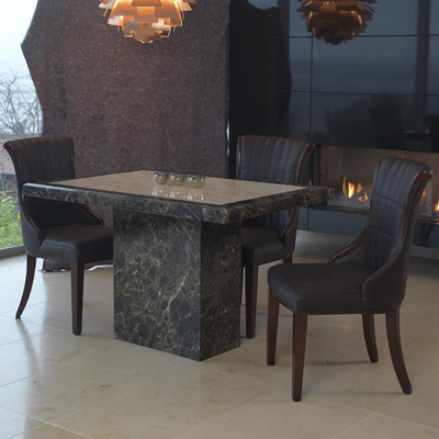 Small 4 Seater Dining Tables Inside Well Liked Ravena Marble Small 4 Seater Dining Set – Robson Furniture (Gallery 1 of 20)
