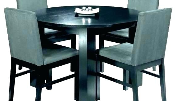 Small Dark Wood Dining Tables Throughout Well Known Amazing Small Round Black Dining Table And 4 Chairs Dark Wood Glass (View 16 of 20)