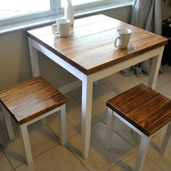 Small Dining Sets Intended For Most Recently Released Farmhouse Breakfast Table Or Dining Table Set With Or Without Stools (Gallery 10 of 20)