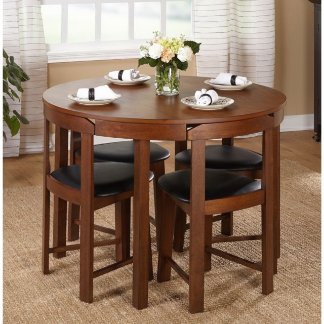 Small Dining Table Set Compact Round Wood 4 Chairs Kitchen Modern Within Famous Small Dining Sets (View 6 of 20)