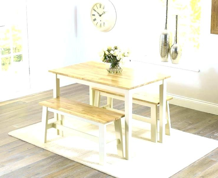 Small Dining Tables And Bench Sets With Regard To Recent Dining Table Chairs And Bench Set Small Kitchen Table With Bench (View 15 of 20)