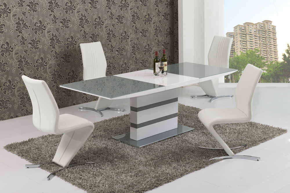Small Extending 6 Seater Gloss Grey Glass Dining Table & Chairs Intended For Current Glass Extendable Dining Tables And 6 Chairs (View 11 of 20)