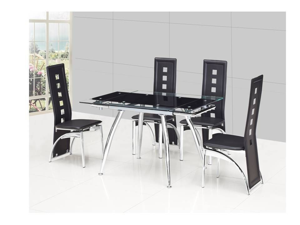 Small Extending Dining Tables And 4 Chairs Intended For Best And Newest Small Black Extending Glass Dining Table And 4 Black Chairs (View 15 of 20)