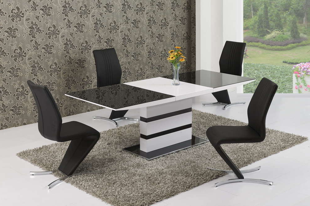 Small Extending Dining Tables And 4 Chairs Throughout Latest Small Extending Black Glass White Gloss Dining Table And 4 Chairs (View 18 of 20)
