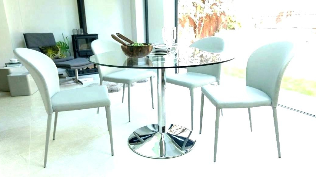 Small Round Glass Dining Table Sets Retro Glass Top Dining Table Set Regarding Most Recent Retro Glass Dining Tables And Chairs (View 9 of 20)