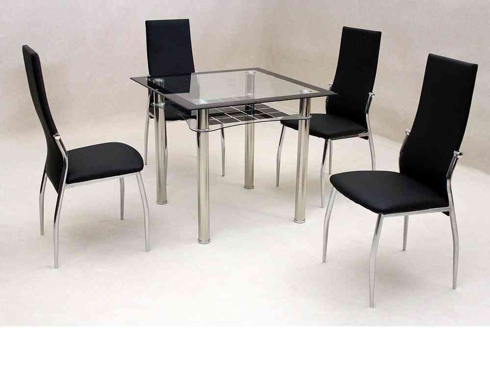 Small Square Clear & Black Glass Dining Table And 4 Chairs Throughout Well Liked Square Black Glass Dining Tables (View 17 of 20)