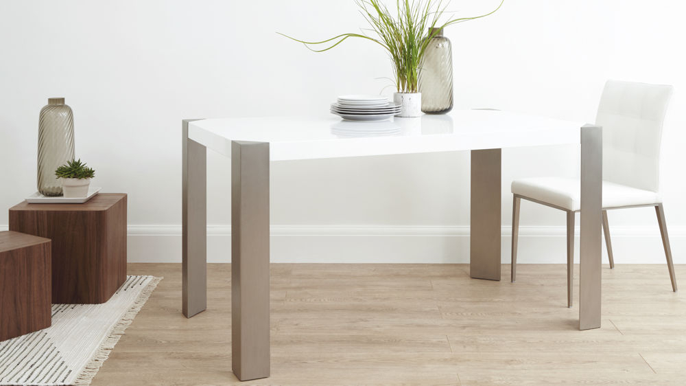 Small White Dining Tables For Trendy White High Gloss Table & White, Brown Or Beige Faux Leather Dining (Gallery 15 of 20)