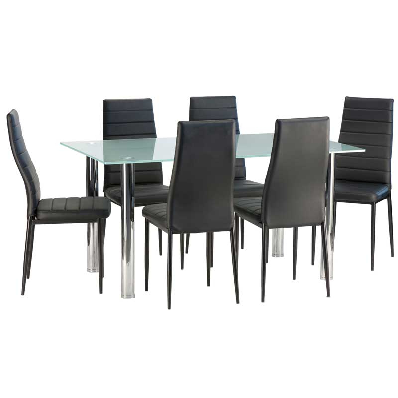 Smoked Glass Dining Tables And Chairs Intended For Well Known Dior Frosted Glass Dining Table & 6 X Betty Dining Chair • Decofurn (View 15 of 20)