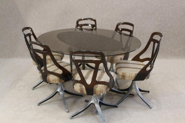 Smoked Glass Dining Tables And Chairs Pertaining To Latest Retro Dining Room Table And Chairs 1970S (View 16 of 20)