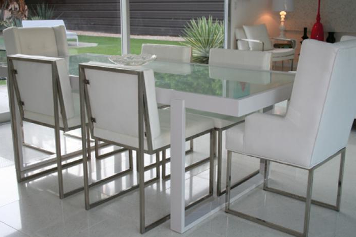 Smoked Glass Dining Tables And Chairs Throughout Well Known Www.roomservicestore – White Metal And Frosted Glass Dining Table (Gallery 12 of 20)