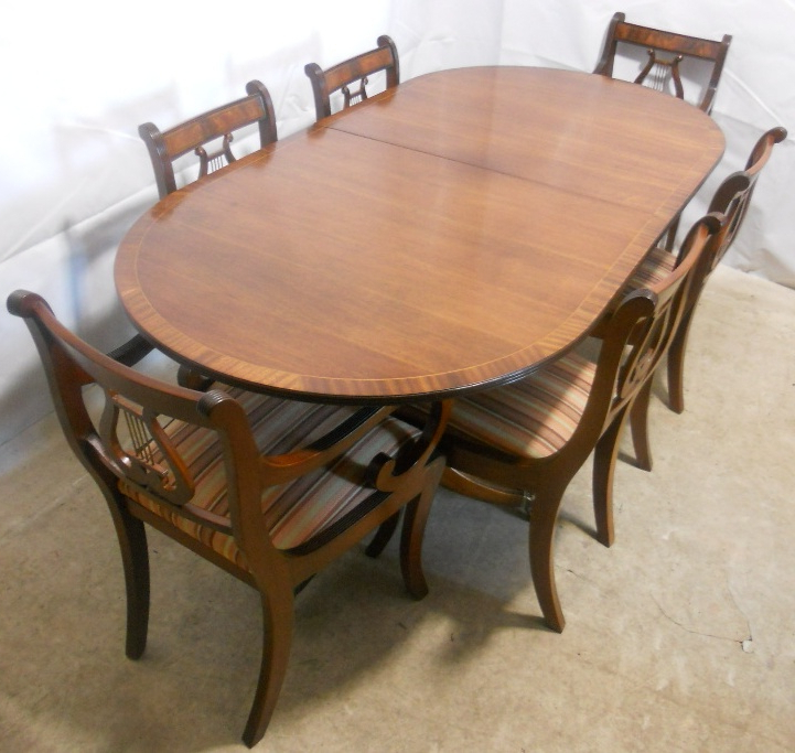 Sold – Regency Style Mahogany Extending Dining Table And Matching Regarding Well Liked Mahogany Extending Dining Tables And Chairs (View 16 of 20)