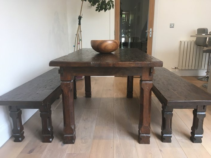 Solid Dark Wood Dining Table 2 Benches For Sale In Newcastle, Dublin Regarding Popular Dining Tables And 2 Benches (View 19 of 20)