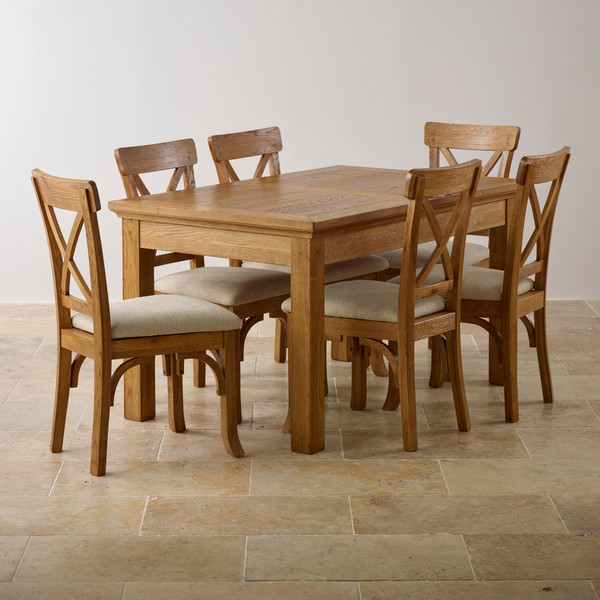 Solid Oak Dining Tables And 6 Chairs Throughout Latest Taunton Rustic Brushed Solid Oak Dining Set – 4Ft Extending Dining (View 14 of 20)
