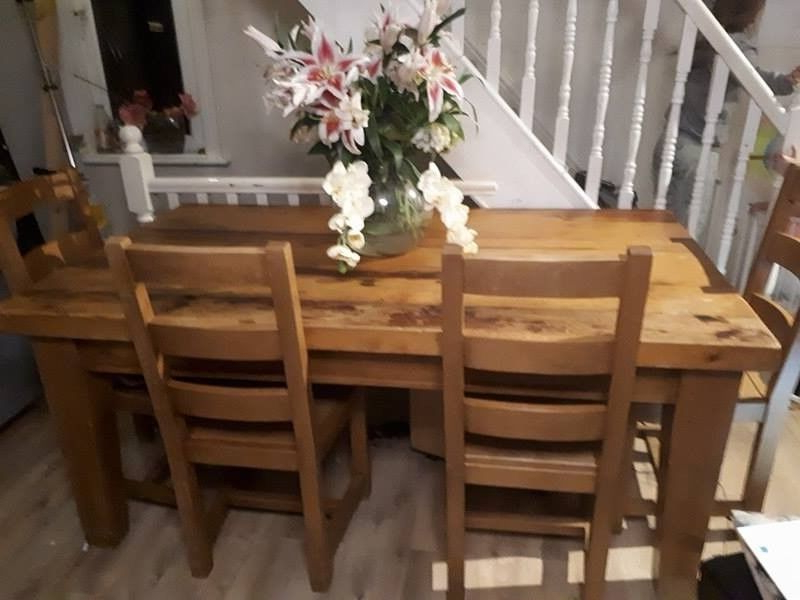 Solid Oak Dining Tables And 6 Chairs With Regard To Recent Chunky Solid Wood Dining Table And 6 Chairs, Handmade, Quality (Gallery 19 of 20)