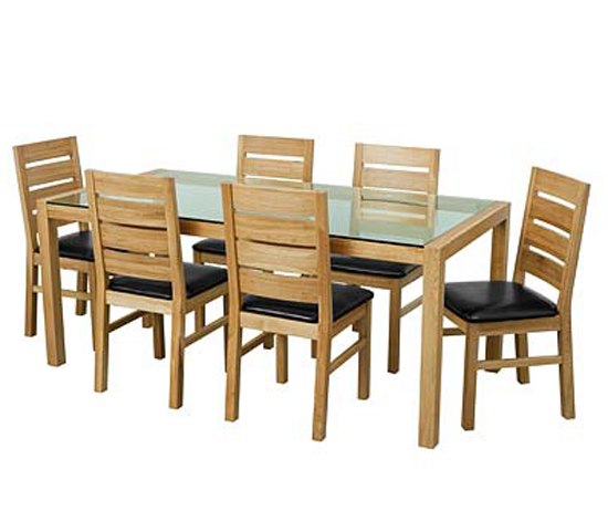 Solid Oak Glass Top Dining Table Set With Six Chairs 9179 For Famous Oak And Glass Dining Tables Sets (View 18 of 20)
