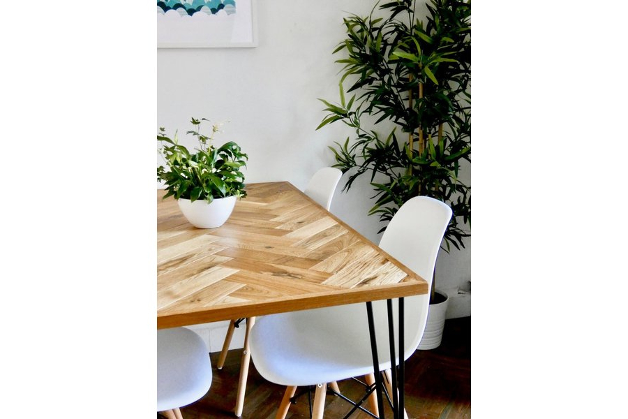 Solid Oak Parquet Dining Table (4 Seater) Herringbone Mid Century In Most Recent Parquet 6 Piece Dining Sets (View 19 of 20)