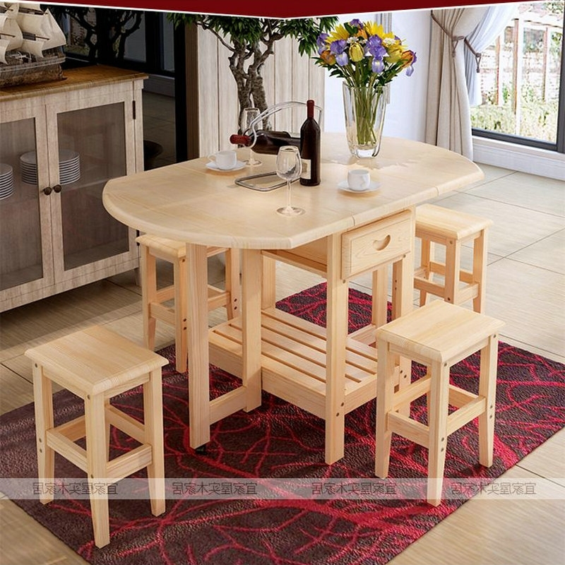 Solid Pine Wood Semi Circle Fold Able Coffee Dining Table With Four For Trendy Pine Wood White Dining Chairs (View 8 of 20)