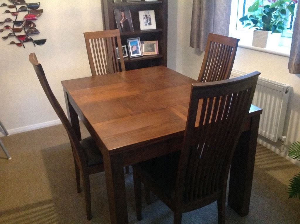 Solid Wood Dining Table And 4 High Back Chairs, Modern Design, Dark Throughout Trendy Dark Solid Wood Dining Tables (View 18 of 20)
