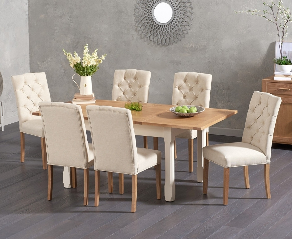 Somerset 130Cm Oak And Cream Extending Dining Table With Candice With Regard To Well Known Candice Ii 6 Piece Extension Rectangle Dining Sets (View 12 of 20)