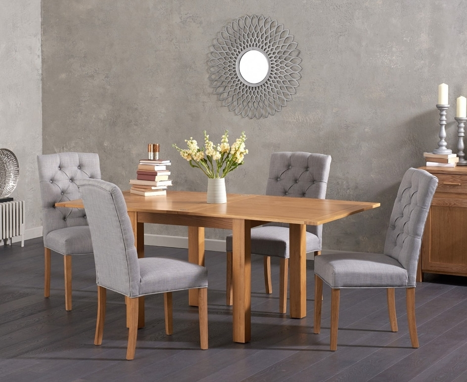 Somerset 90Cm Flip Top Oak Dining Table With Candice Fabric Chairs Pertaining To Famous Candice Ii Extension Rectangle Dining Tables (View 15 of 20)
