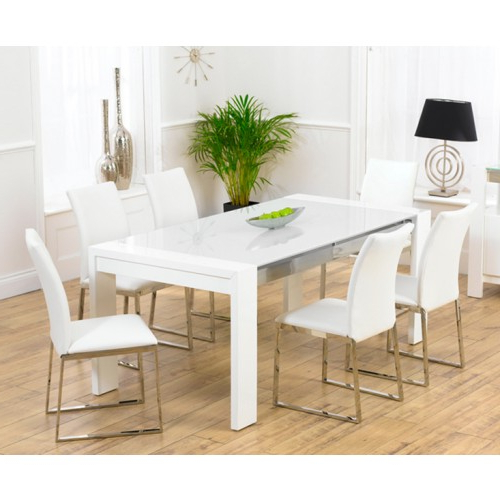 Sophia White High Gloss Dining Table In Famous White High Gloss Dining Chairs (Gallery 12 of 20)