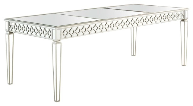 Sophie Silver Mirrored Dining Room Table – Contemporary – Dining Regarding Well Known Mirrored Dining Tables (View 18 of 20)