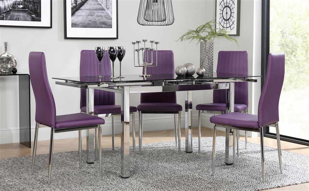 Space Chrome & Black Glass Extending Dining Table With 6 Leon Purple With Trendy Dining Tables And Purple Chairs (View 3 of 20)