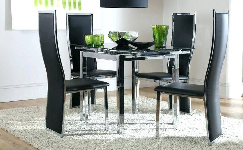 Square Black Glass Dining Tables Pertaining To 2018 Square Extending Dining Table And Chairs Glass Dining Room Sets For (Gallery 10 of 20)