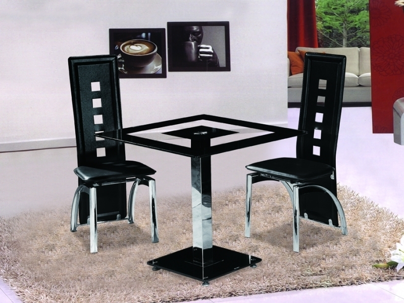 Square Black Glass Dining Tables With Regard To Most Recently Released Small Square Black Glass Dining Table With 2 Chairs – Homegenies (Gallery 2 of 20)