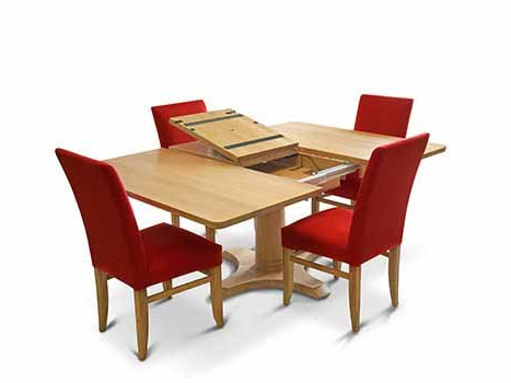 Square Dining Tables In Solid Oak & Walnut, Extending Square Tables For Popular Square Extendable Dining Tables (View 12 of 20)