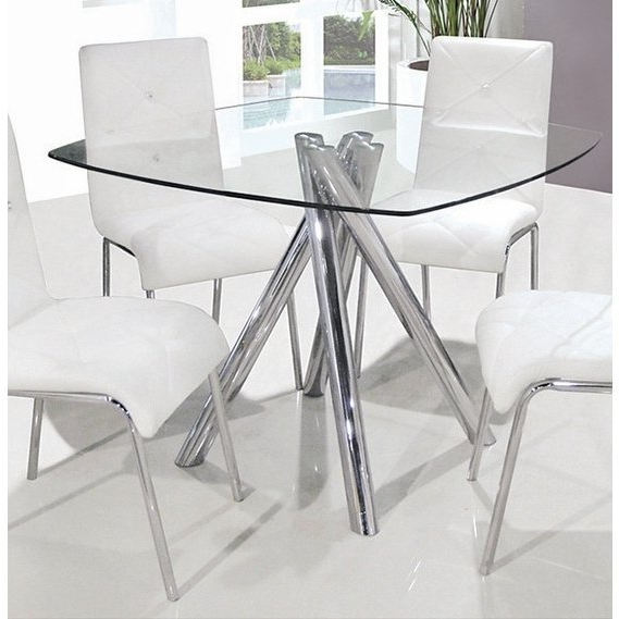 Square Dining Tables Within Trendy Shop Best Master Furniture Square Glass Dining Table – Silver – Free (View 16 of 20)