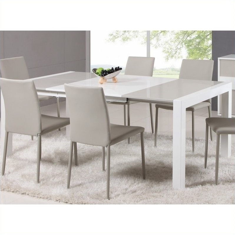 Square Extendable Dining Tables And Chairs Intended For Newest Chintaly Gina Lacquer Parson Extendable Dining Table In Whitegrey (Gallery 15 of 20)