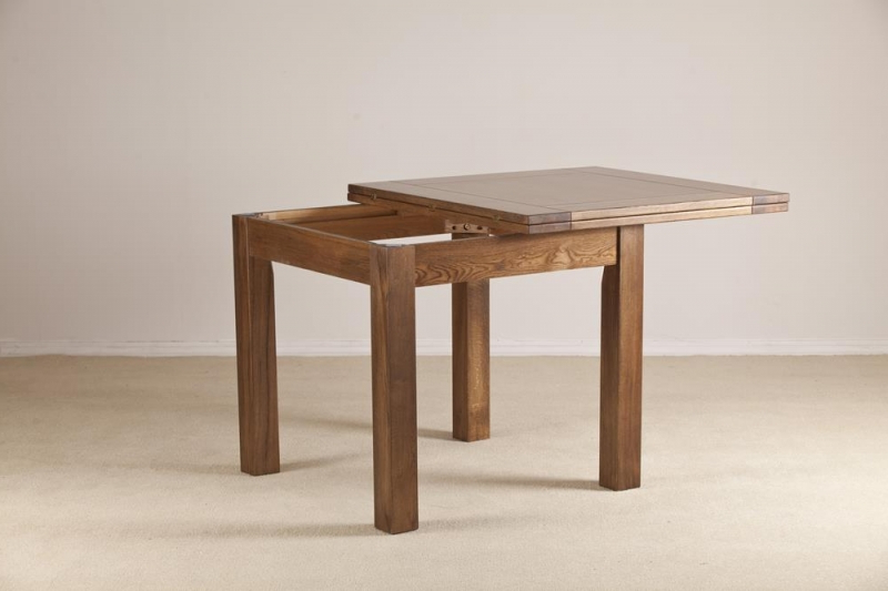Square Extending Dining Tables Regarding Most Current Buy Rustic Solid Oak Flip Top Square Extending Dining Table –  (View 13 of 20)