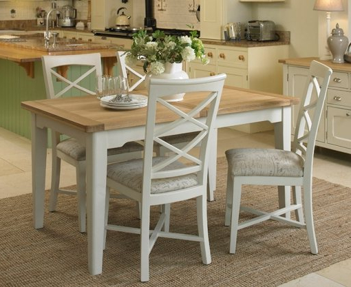 St Ives Small Extending Dining Set With Table & 4X Cross Back Chairs With Famous Extending Dining Room Tables And Chairs (View 6 of 20)