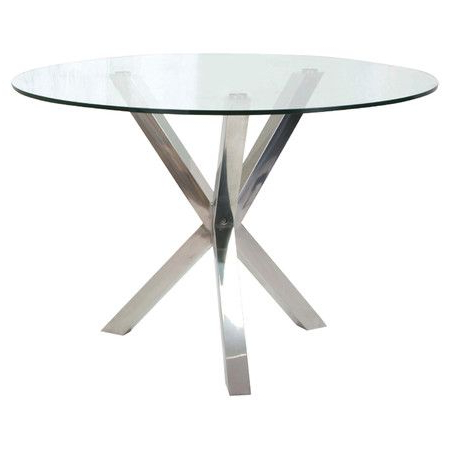 Stainless Steel Dining Table With A Pedestal Base And White Glass In Preferred Glass And Stainless Steel Dining Tables (View 16 of 20)