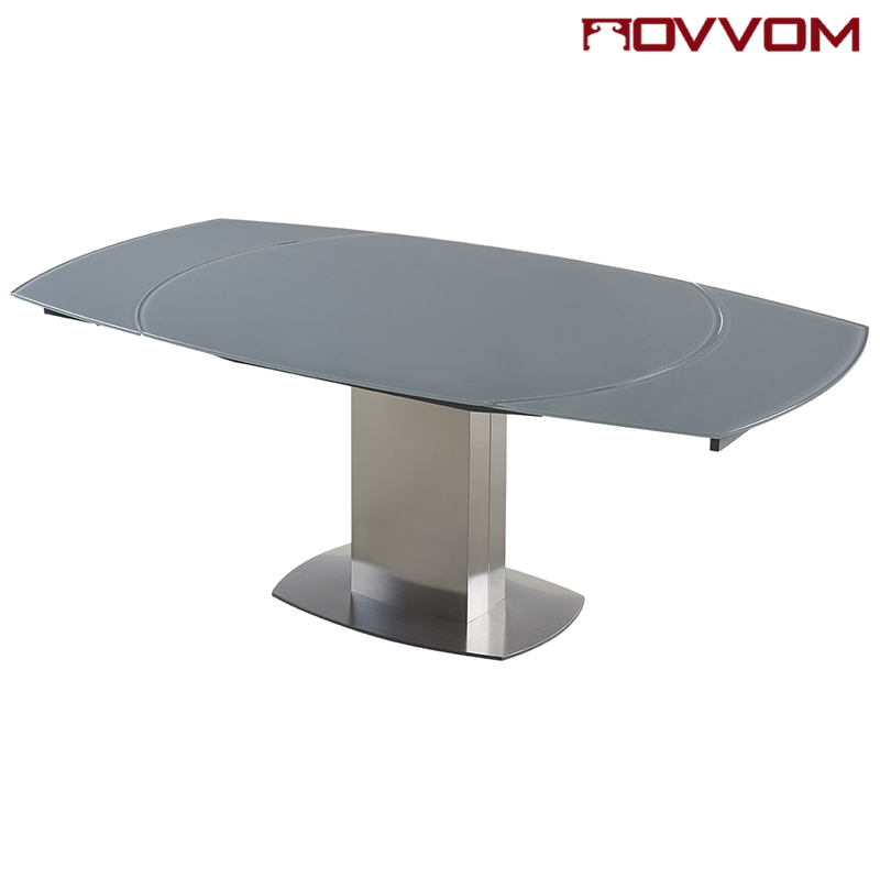 Stainless Steel Frame Rectangular Grey Tempered Glass Top Flow Throughout Well Liked Extending Glass Dining Tables (View 18 of 20)