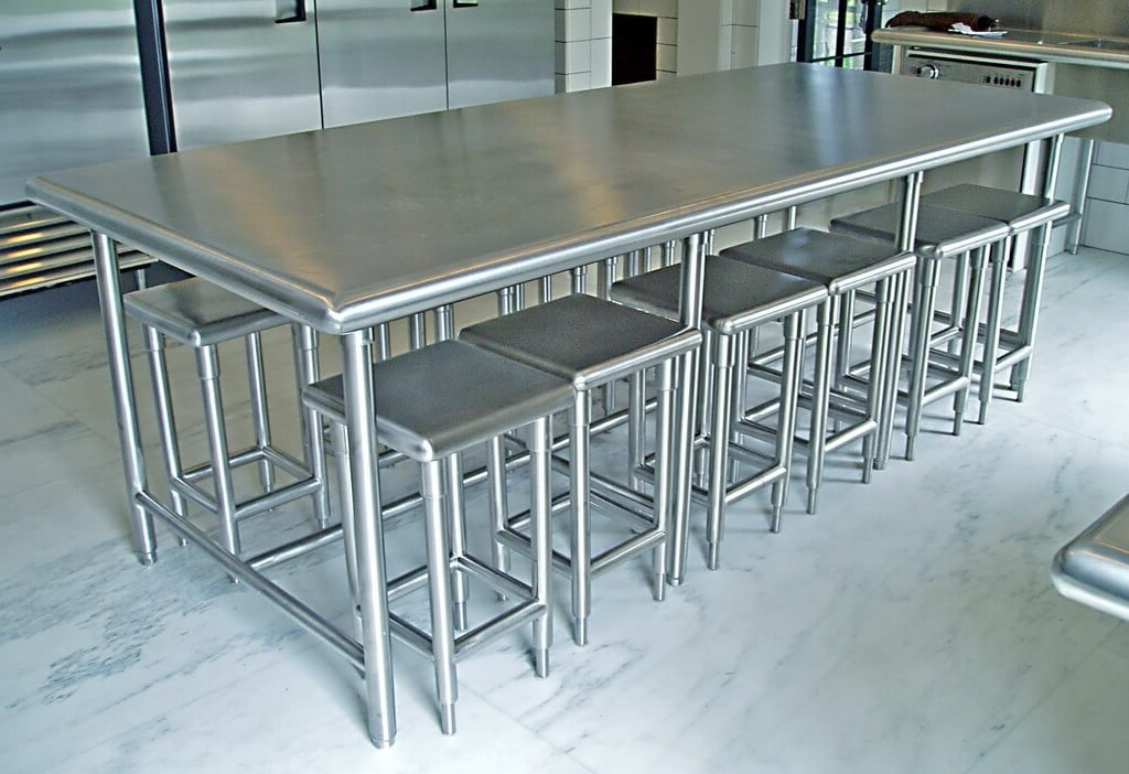 Stainless Steel Kitchen Furniture – Brooks Custom For Famous Brushed Steel Dining Tables (View 14 of 20)