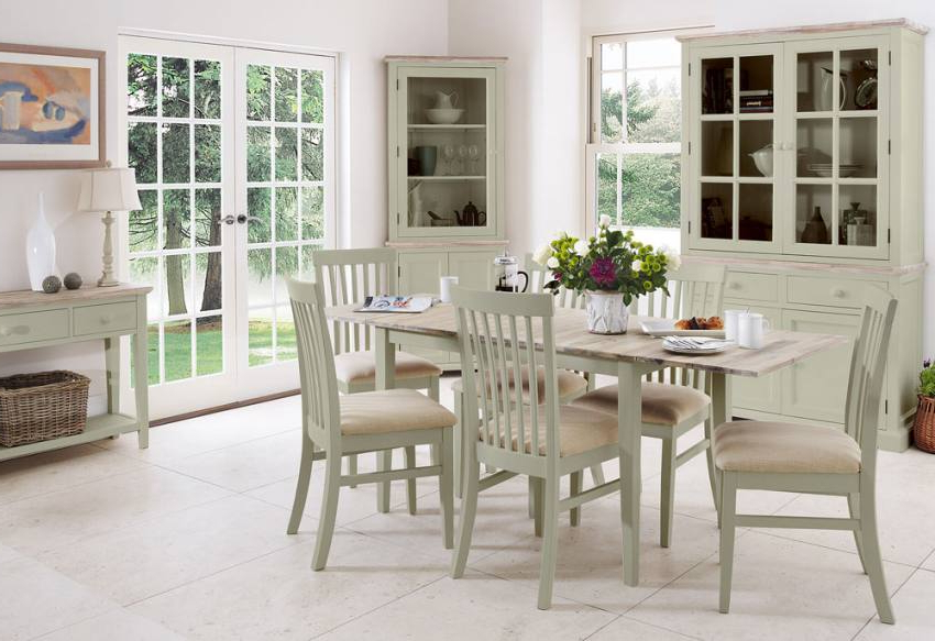 Statement Furniture – Florence Sage Green Matt Painted & Washed With Popular Green Dining Tables (View 9 of 20)