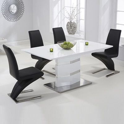 Stenson High Gloss White Dining Table With 6 Harvey Black Chairs Pertaining To Well Known White Dining Tables And Chairs (View 12 of 20)