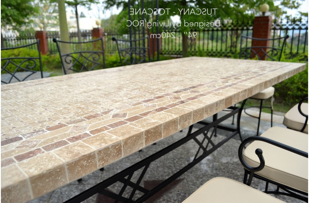 "Stone Dining Tables Regarding Fashionable 78"" Outdoor Patio Dining Table Italian Mosaic Stone Marble – Tuscany (Gallery 16 of 20)"